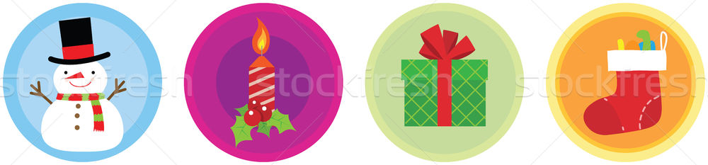Рождества иконки иллюстрация окна Hat икона Сток-фото © qiun