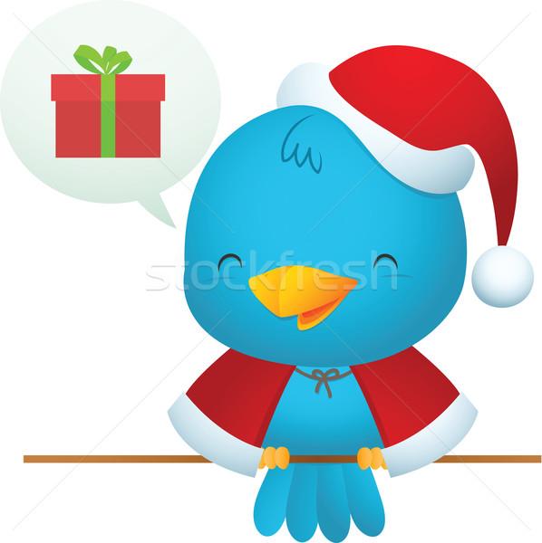 Stock photo: Little Blue Bird with Santa uniform