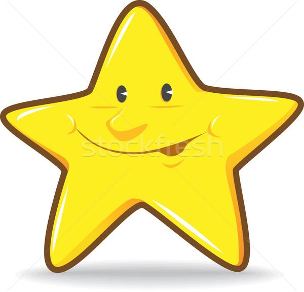 улыбаясь звездой иллюстрация желтый улыбка Cartoon Сток-фото © qiun