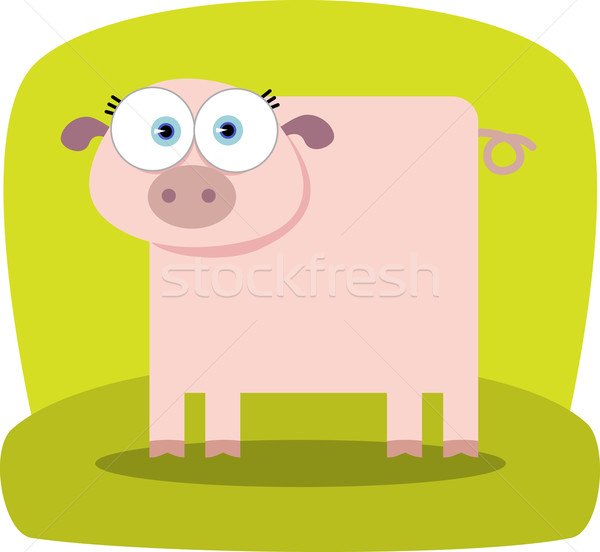 Cartoon porc grand oeil Photo stock © qiun