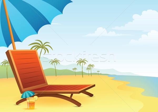 Председатель коктейль пляж иллюстрация морем горные Сток-фото © qiun