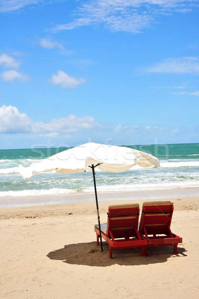 Two Chairs and Umbrella at Beach Stock photo © qiun