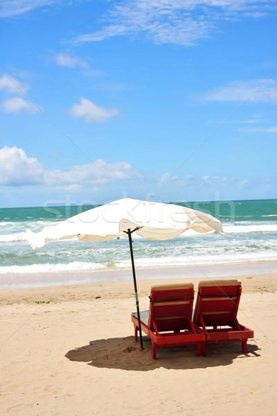 два стульев зонтик пляж солнце путешествия Сток-фото © qiun