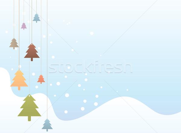 красочный рождественская елка иллюстрация снега осень дерево Сток-фото © qiun