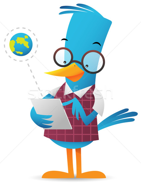 Azul aves tableta Cartoon www pie Foto stock © qiun