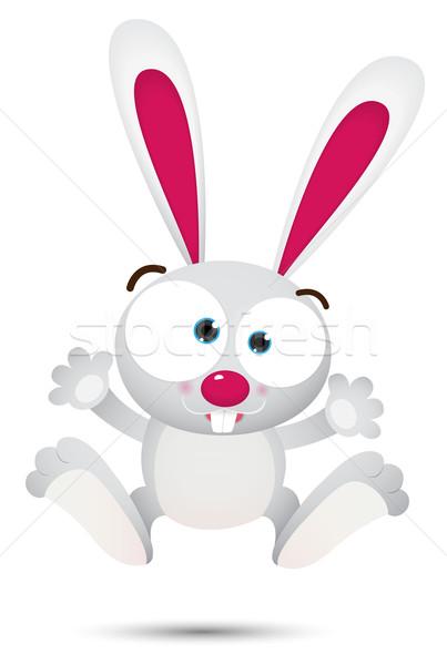 Blanco conejo saltar ilustración sonrisa reír Foto stock © qiun