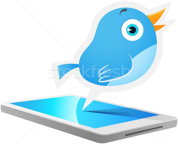 Blu uccello mobile illustrazione parlando fuori Foto d'archivio © qiun