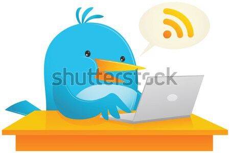 Blue Bird and Laptop Stock photo © qiun