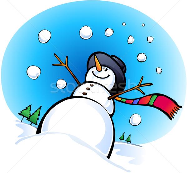 счастливым снеговик улыбка снега льда зима Сток-фото © qiun
