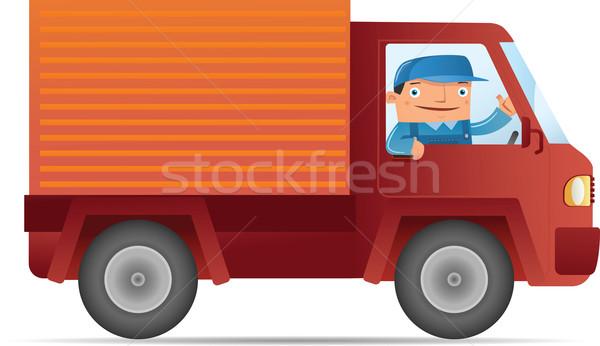 движущихся иллюстрация доставки службе автомобилей человека Сток-фото © qiun