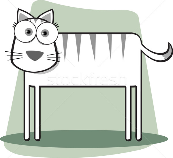 Gato preto e branco desenho animado grande olho Foto stock © qiun