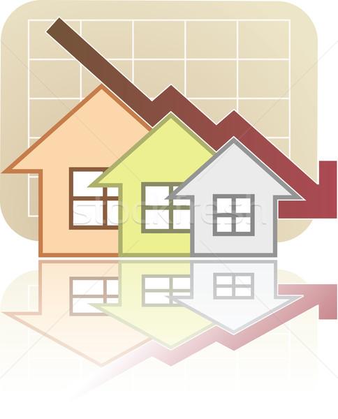 недвижимости диаграммы вниз иллюстрация домой складе Сток-фото © qiun