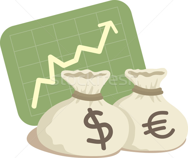 Bag of Dollar and Euro with Chart Up Stock photo © qiun