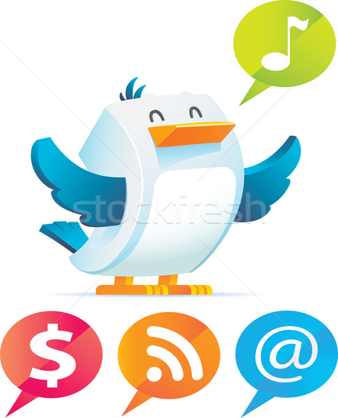 Bird with talking bubble Stock photo © qiun
