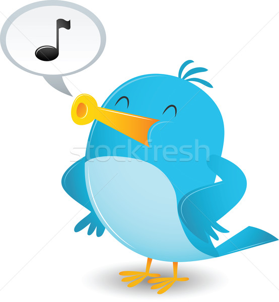 Foto stock: Cartoon · azul · aves · cantar · feliz · nota