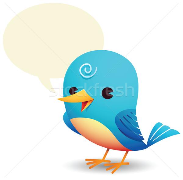 синий птица говорить пузыря иллюстрация животного Сток-фото © qiun