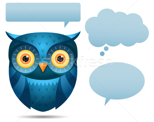 Blue Owl and talk bubble Stock photo © qiun