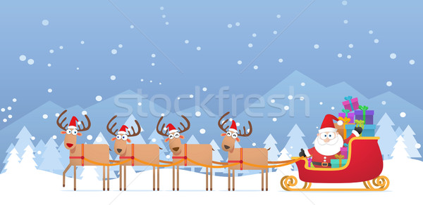 Santa and Christmas Reindeer on the snow Stock photo © qiun