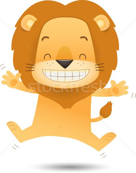 Lion sautant heureux illustration visage heureux sourire Photo stock © qiun