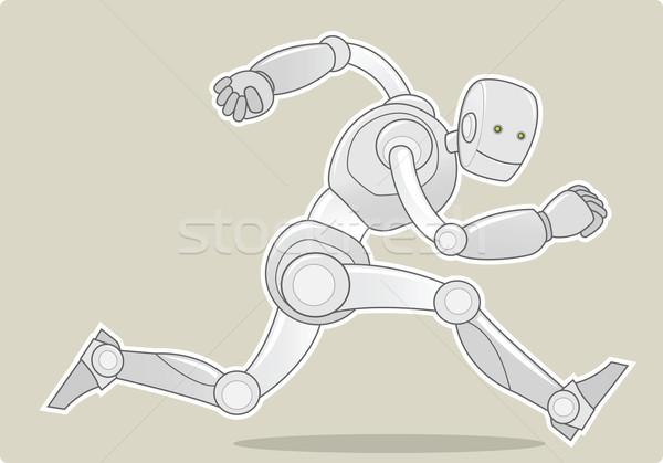 Сток-фото: работает · робота · иллюстрация · счастливым · технологий · машина
