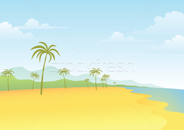 Beach and Coconut Tree Stock photo © qiun