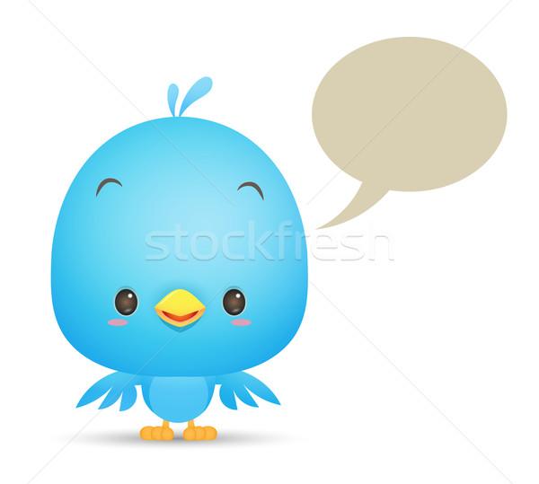 Kawaii Blauw vogel bubble praten icon Stockfoto © qiun