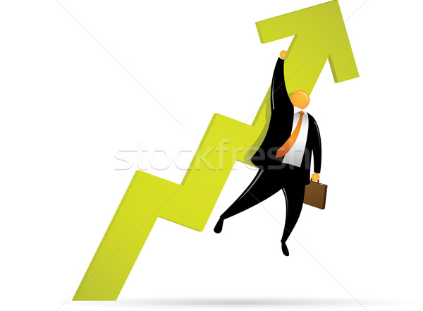 Orange Head Man Going Up Stock photo © qiun