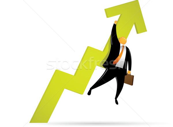 Oranje hoofd man omhoog zwarte succes Stockfoto © qiun