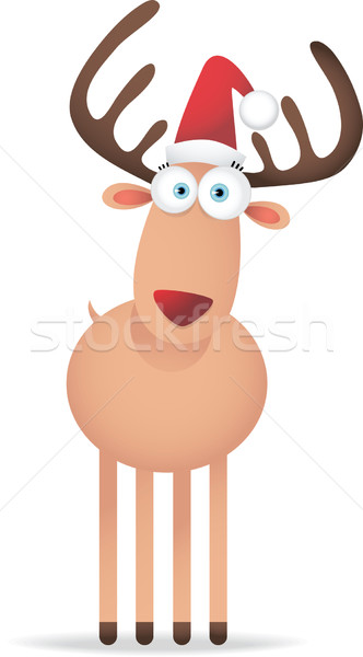 Рождества оленей большой глаза иллюстрация зима Сток-фото © qiun