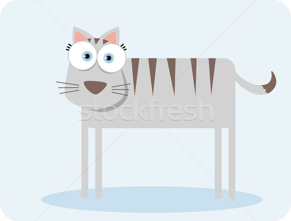 Stock photo: Cartoon Cat with stripe and big eye