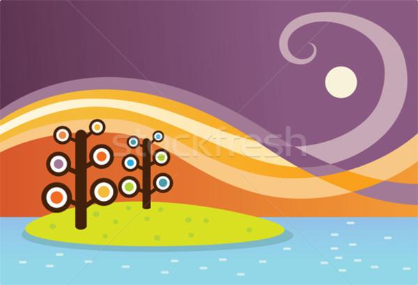 дерево острове иллюстрация два пейзаж Сток-фото © qiun