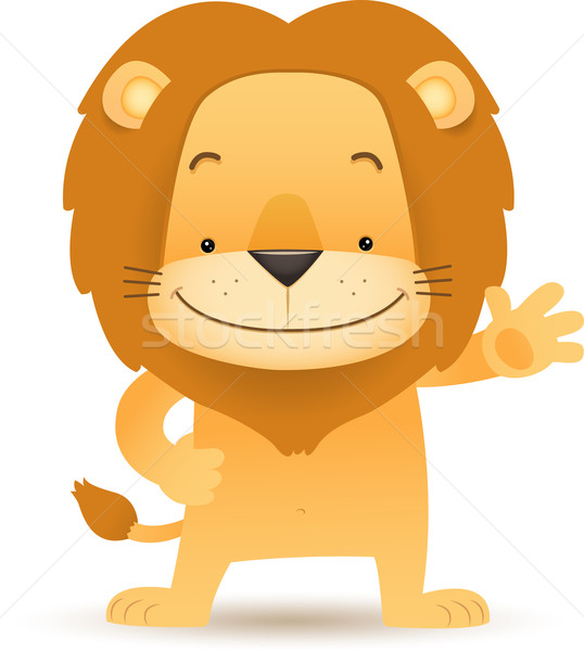 Lino the Lion standing waving hand Stock photo © qiun