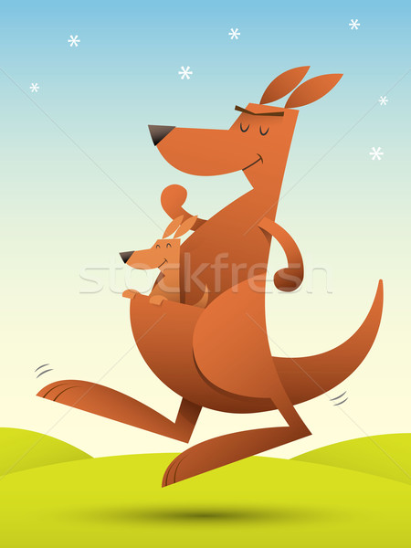 Kangaroo jumping Stock photo © qiun