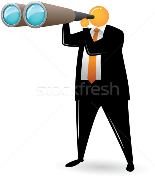 Naranja cabeza hombre ilustración negocios traje Foto stock © qiun