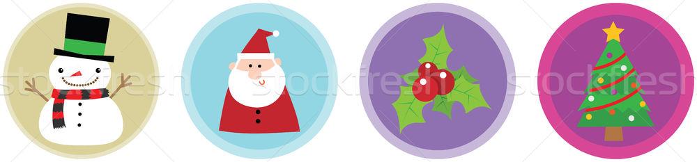 Navidad iconos ilustración estrellas frío icono Foto stock © qiun