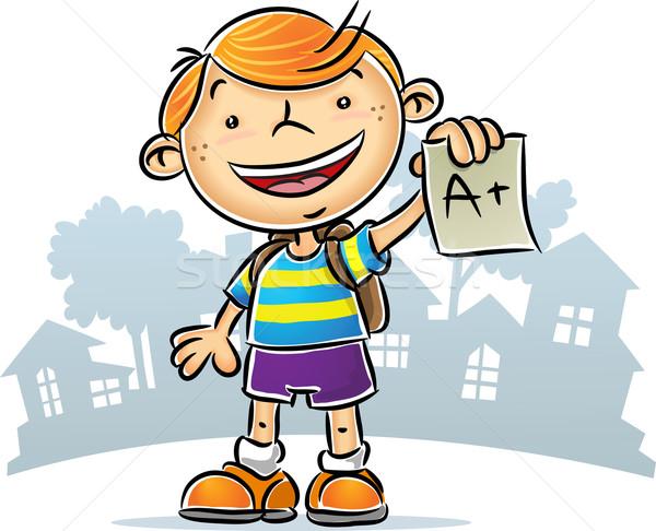 Kid иллюстрация докладе детей счастливым Сток-фото © qiun