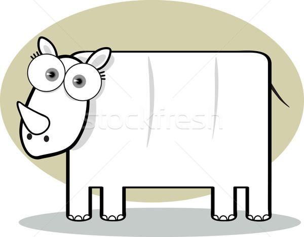 Cartoon rhino bianco nero grande occhi nero Foto d'archivio © qiun