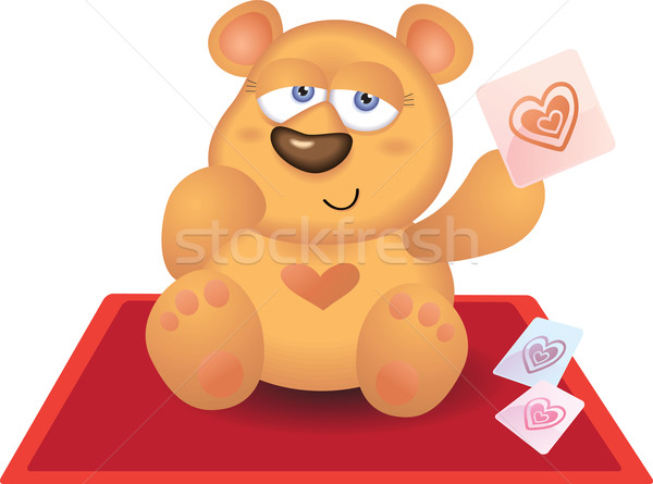 Photo stock: Nounours · jouer · coeur · carte · tapis · rouge