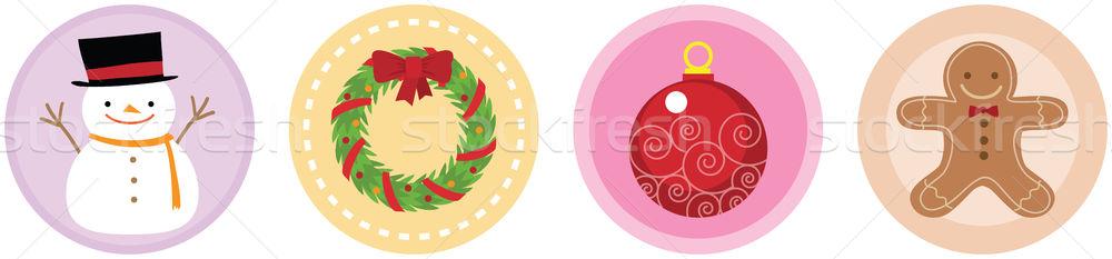 Christmas iconen illustratie gelukkig koud cookies Stockfoto © qiun
