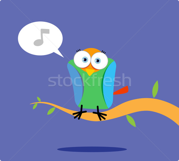 Cartoon colorful bird singing  Stock photo © qiun