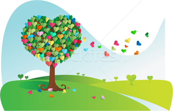 Colorful Love Tree Stock photo © qiun