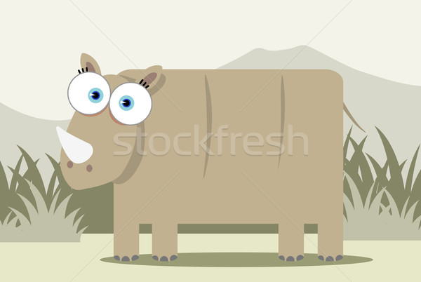 Cartoon neushoorn groot oog Stockfoto © qiun