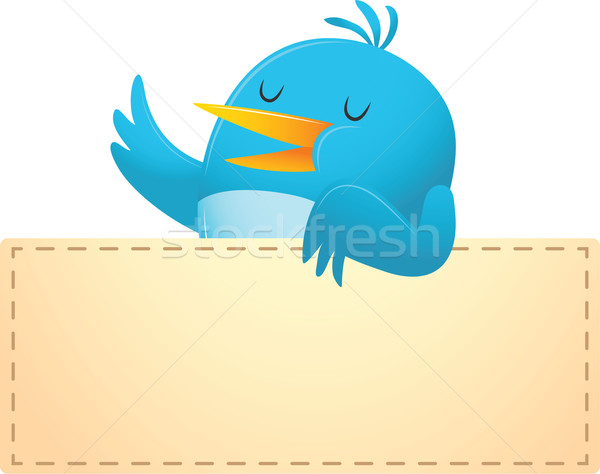 Blue Bird with blank banner Stock photo © qiun