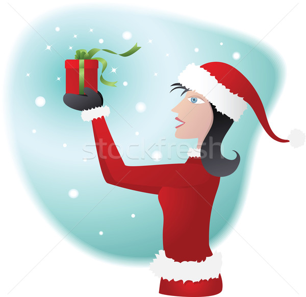 Woman wearing santa costume Stock photo © qiun