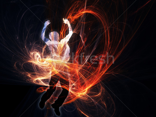 Hombre fuego danza fondo Foto stock © qiun