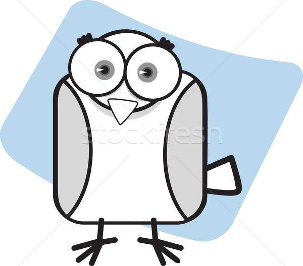 Cartoon adelaar zwart wit groot oog Stockfoto © qiun