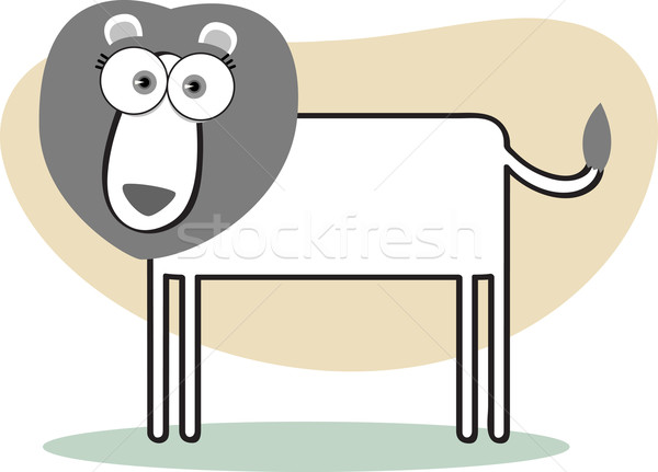 Stock photo: Cartoon Lion in Black and White