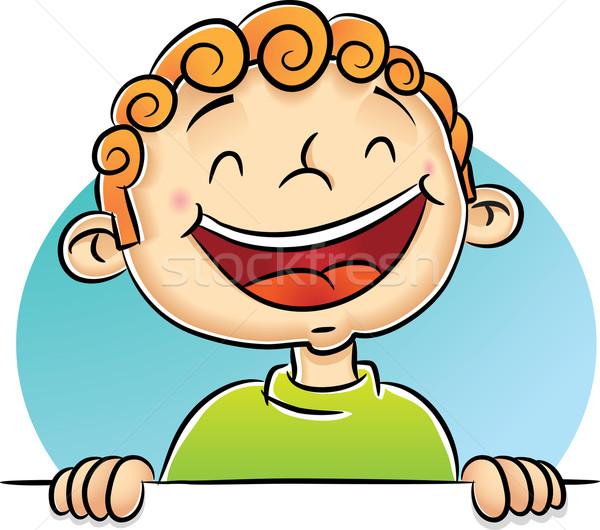 мальчика смеясь иллюстрация детей зеленый улыбаясь Сток-фото © qiun