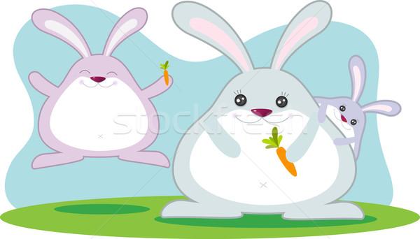Grasa conejo familia ilustración Pascua vacaciones Foto stock © qiun