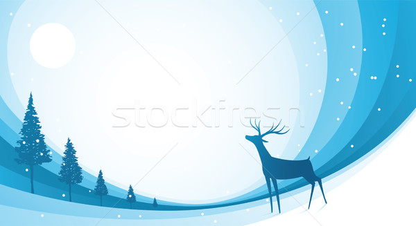 Snow Reindeer Blue Stock photo © qiun